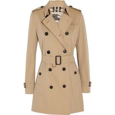 Burberry The Kensington Mid cotton-gabardine trench coat (€1.465) ❤ liked on Polyvore featuring outerwear, coats, jackets, burberry, casacos, beige coat, double-breasted trench coat, gabardine coat and button trench coat
