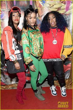 Teyana Taylor Gets Support from Missy Elliott & Baby Girl at Junie Bee Nail Salon Grand Opening! Black 90s Fashion, 80s Fashion Party, Hip Hop Fashion, Girl Fashion, Fashion Outfits, Hipster Fashion, 90s Themed Outfits, 90s Theme Party Outfit, House Party Outfit