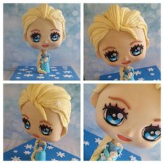 so, while I was making my 4 year old her Rapunzal Chibi, I thought I best make her little 2 year old sister an Elsa Chibi seen as they are sharing a party :) Disney Frozen Cake, Disney Cakes, Cookie Tutorials, Cake Decorating Tutorials, Fondant Cakes, Cupcake Cakes, 3d Cakes, Chibi, Cake Frame