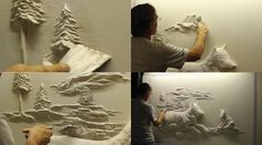This amazing work of art, created entirely out of drywall. DIY--DO IT YOURSELF INSPIRATION