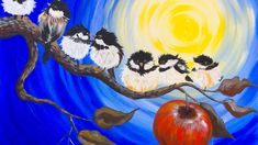 LIVE Beginner how to Paint a Chickadee on and Apple Branch back to school…
