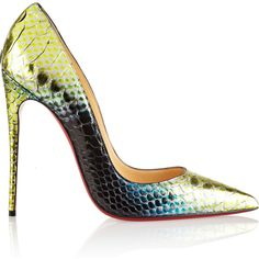 Christian Louboutin So Kate 120 python pumps (£845) ❤ liked on Polyvore featuring shoes, pumps, heels, christian louboutin, calçados, high heel shoes, snakeskin pumps, snake print pumps, green high heel pumps and green high heel shoes