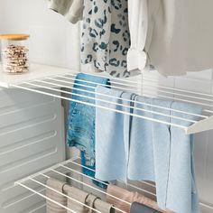 Wall Drying Rack, Laundry Room Drying Rack, Clothes Drying Racks, Laundry Closet, Laundry Room Organization, Small Laundry, Laundry Room Design, Ikea Laundry Room, Drying Room