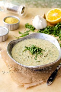 Artichoke Arugula Soup - can easily be transformed into dip with less broth & more arugula.
