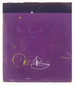 """lightbeforelightbehindme: yellow, white, purple, black 12 1/8"""" x 10 3/8"""" resin stick, fabric on album cover 3.2014 w. tucker wtucker-art.co..."""