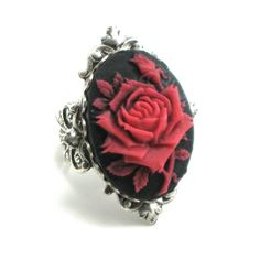 Gothic Jewelry - Cameo Rose Mourning Ring in Red on Black, by Ghostlove
