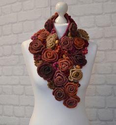 Rose boa collar partyScarf knitted roses angora boho by AlisaSonya