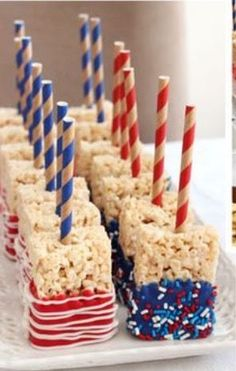4th of July Rice Krispie treats dipped in colored candy melts.
