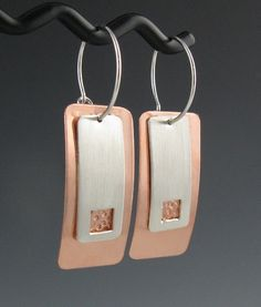 Copper and Silver Rectangular Interchangeable Earrings, Handmade by annewalkerjewelry on Etsy https://www.etsy.com/listing/75386338/copper-and-silver-rectangular