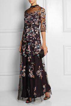 Biyan | Illyana silk-appliquéd embellished tulle gown | NET-A-PORTER.COM