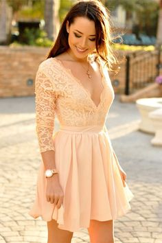 long sleeves homecoming dresses, lace bodice short party dresses, v neck short prom dresses