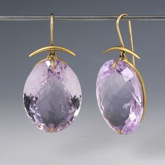 """Ooh la la these Gabriella Kiss earrings are luscious! Exquisite Rose De France amethyst drops dangle from within a simple 18K yellow gold setting for ultimate light and sparkle. The artist's signature top element are decorative and in line with the simplistic elegance of these gorgeous earrings.<br><br>Stones measure 18mm x 25mm, total length measures 1 1/2"""""""