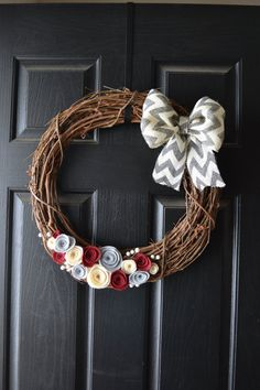 Chevron Burlap and Felt Grapevine Front Door Wreath - Grey, Red and Cream - Use for Holidays and Valentines Day on Etsy, $25.00