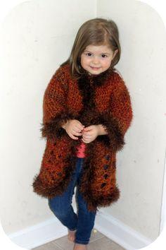 Hand Crochet Girls Sweater Jacket