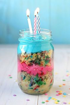 Birthday cake in a jar
