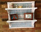 Salvaged Shutters And Wood Used To Create Unique Shelf