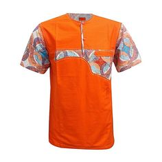 No brand Chemise Homme Manches Courtes Cou Rond - Orange - Prix pas cher Couples African Outfits, African Dresses Men, African Attire For Men, African Clothing For Men, African Shirts, African Fashion Ankara, Latest African Fashion Dresses, African Wear, Family Clothing Sets