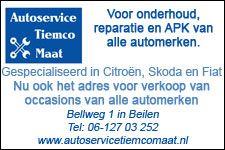 Promobloc van Autoservice Tiemco Maat aangepast. Met 30 jaar ervaring het vertrouwde adres voor onderhoud, reparatie en APK voor alle automerken. Nu ook verkoop van occasions van alle merken. Tevens hebben ze een nieuwe website. http://koopplein.nl/middendrenthe/gebruikers/506437/autoservice-tiemco-maat
