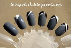 gray french manicure