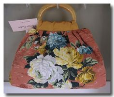 Vintage Silk and Barkcloth Retro Floral Handbag Purse