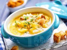 Картофена супа с крутони, копър и масло