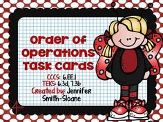 Order of Operations Task Cards (Including Exponents)- Complete Face lift and ready for your end of the year review!