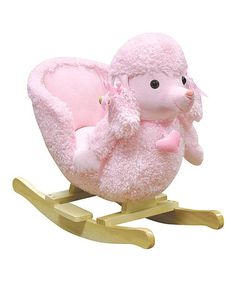 Mitzi Poodle Rocker by Charm  Tiny tots will love riding on this pink poodle rocker! Crafted with solid materials and adorable details, this cozy chair will gently swing your little ones back and forth.   Weight capacity: 80 lbs. 11.5'' W 20.5'' H x 25.5'' D Wood / polyester Recommended for ages 18 months and up Your baby toddler child will love this! Dogs are not the only style available. They have many more!