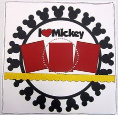 Disney scrapbook layout-- I like the circular mickey border Disney Scrapbook Pages, Scrapbook Sketches, Scrapbook Page Layouts, Scrapbook Paper Crafts, Scrapbook Cards, Scrapbooking Ideas, Scrapbook Photos, Travel Scrapbook, Scrapbook Templates