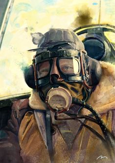 Painting of WWII pilot