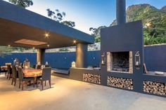 Entire home/flat in Cape Town, South Africa. Maison Noir is a totally private villa, set in beautiful gardens and among magnificent mountain ranges on the slopes of Constantia Nek in Hout Bay. Backyard Pool Designs, Backyard Projects, Patio Design, Backyard Patio, Backyard Landscaping, Outdoor Garden Furniture, Outdoor Decor, Built In Braai, Outdoor Grill Station