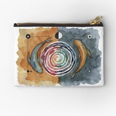 'Balance Spiral Fish' Zipper Pouch by MarianaBlackArt Zipper Pouch, Makeup Yourself, Are You The One, Spiral, Coin Purse, My Arts, Vibrant, Cold, Art Prints