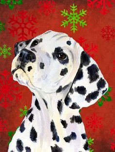 Dalmatian Red and Green Snowflakes Holiday Christmas House Vertical Flag