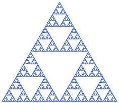 This falls under Gestalts law of similarity. The triangles inside are similar to each other because they share the fact that they are inverted inside a normal triangle.