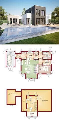 Bungalow Evolution 100 V9 Grundriss - Bien Zenker - Modern Bauhaus Stil Haus, Terrasse, Pool, Garten, Garage, Carport, Galerie, Flachdach