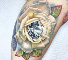 3 colors realistic tattoo style of Rose and Diamond motive done by artist Ben Kaye