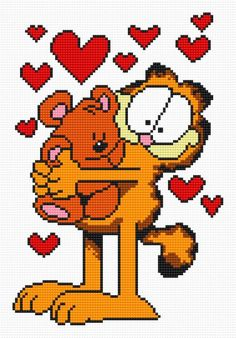 Garfield (animal, cat, fairy tale, Valentine s Day, heart, love)