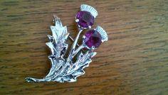 Vintage Scotland Silver & Purple Thistle Brooch Pin #Scotland