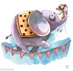 "Original Watercolor Folk Art Whimsy Illustration Circus Elephant Mouse Fun 5x5"" | eBay"