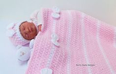 Crochet Pattern PEEK A BOW Baby Blanket and by KerryJayneDesigns