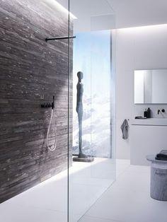 Stone and White - shower Frameless Shower Doors, Floor Drains, White Shower, Shower Time, Dream Bathrooms, Building Design, Modern Bathroom, Interior Inspiration, Interior Architecture