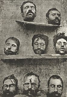 """Armenian Genocide - The original caption of photograph reads: """"The Above Photograph Shows Eight Armenian Professors Massacred by the Turks""""."""