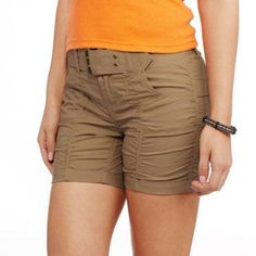 Indie Girl Juniors' Rouched Belted Shorts, Beige