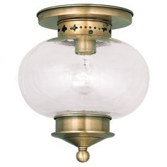 Livex Lighting Harbor Antique Brass Ceiling Mount 5036-01