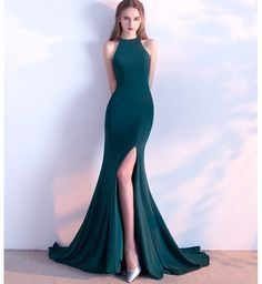 Spaghetti Straps Long Simple Prom Dress with Split Party Dress