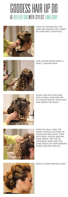 How to do a goddess up to perfect hair for wedding. How to do a goddess up to perfect hair for wedding or prom ! Natural Wedding Hairstyles, Fancy Hairstyles, Celebrity Hairstyles, Prom Hair Updo Elegant, Elegant Updo, Diy Wedding Hair, Bridal Hair, Wedding Ideas, Goddess Hairstyles