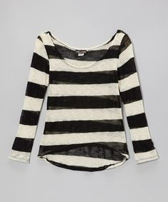 This Black & Ivory Stripe Loose-Knit Sweater by Rated G is perfect! #zulilyfinds