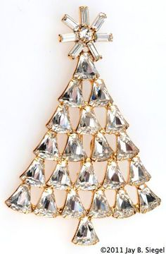 Dominique Bell Rhinestone Christmas Tree Pin