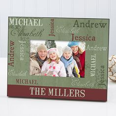 Beautifully display a favorite family photo for all to enjoy with our endearing Our Loving Family Christmas Personalized Photo Frame.