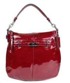 Coach Patent Leather Ashlyn Shoulder Hobo Bag Purse Tote 17861 Wine
