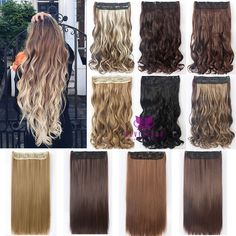 Womens Fashion 5 Clips Synthetic Hairpiece Honey Blonde Mix Brown Black Hair Piece Clip In Hair Extensions 2 Style Available B10